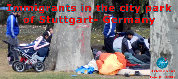 Immigrants in the city-park of Stuttgart